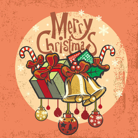 merry christmas greeting card design in retro design style