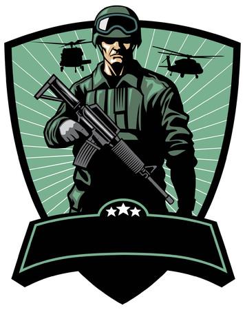 soldaat leger badge Vector Illustratie