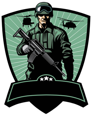 soldier army badge Ilustrace