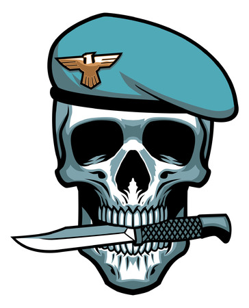 soldier skull biting the military dagger