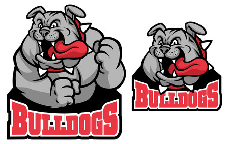 set of bulldog mascot