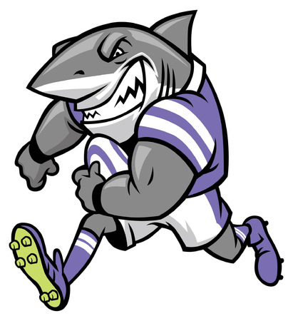 rugby mascot of great white shark Banque d'images - 108728197