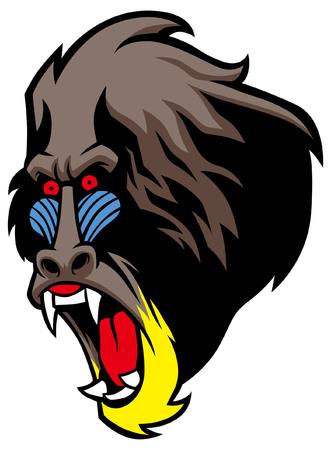 angry head mascot of mandrill monkey