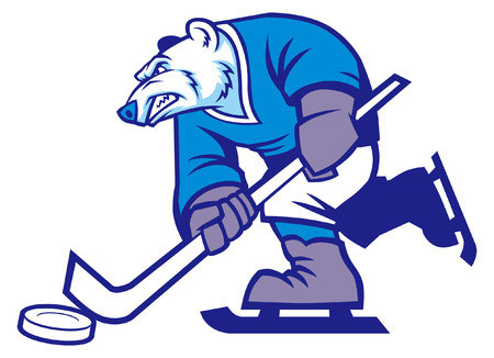 hockey ice mascot of polar bear Çizim