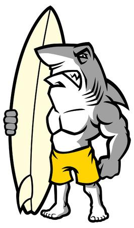 requin comme mascotte de surfeur Vecteurs