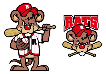 rat as baseball mascot set vector illustration Stock Illustratie