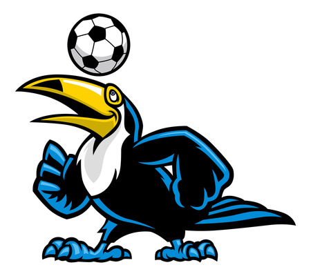 toucan bird playing soccer