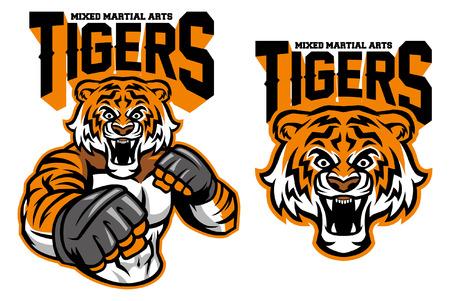 Tiger Maskottchen MMA im Set