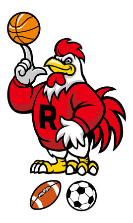 rooster mascot with various sport mall