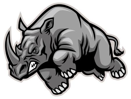 mascotte de rhinocéros chargeant