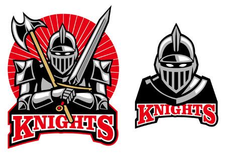 knight mascot in set