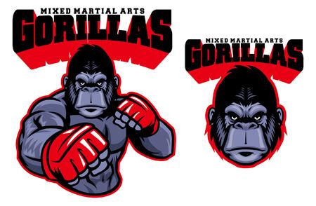 gorilla MMA mascot Illustration