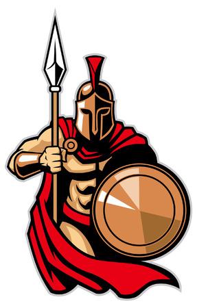 Spartaanse mascotte Vector Illustratie