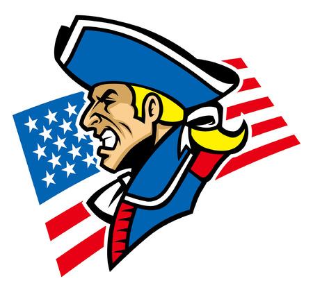 amerikanischer Krieger Patriot Maskottchen Vektorgrafik