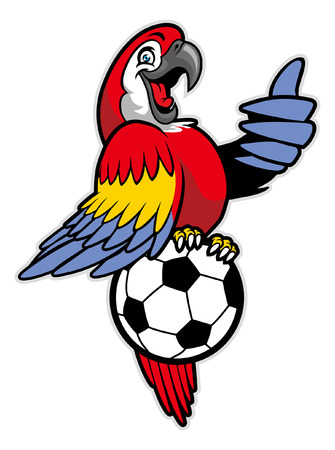 happy red macaw mascot stand over the soccer ball