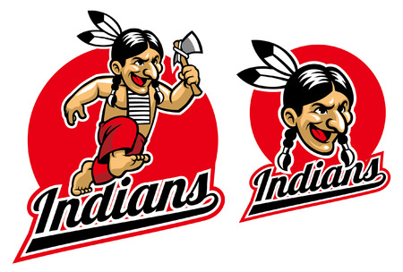 indian warrior mascot Illustration