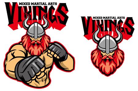 Wikinger MMA-Maskottchen-Set Vektorgrafik