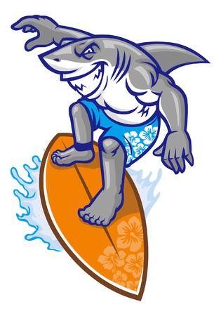 mascota de tiburón haciendo surf