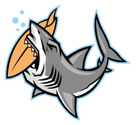 mascota de tiburón muerde la tabla de surf