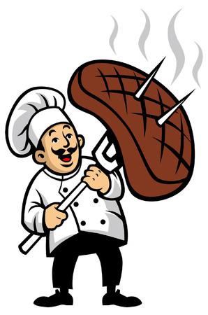 Chefgrillmaskottchen halten das große Fleisch