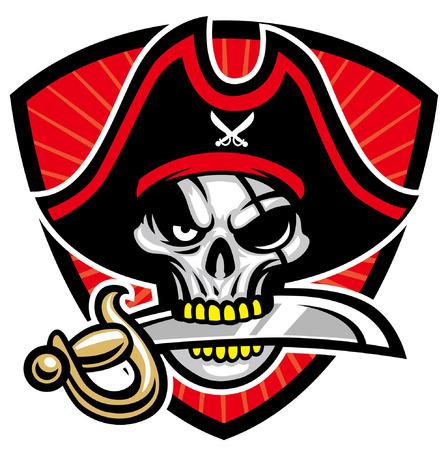 mascota pirata calavera Ilustración de vector