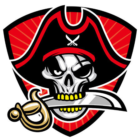 Totenkopf-Piraten-Maskottchen Vektorgrafik