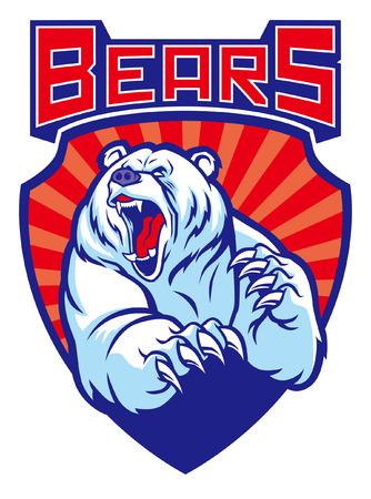 mascotte d'ours polaire en style badge