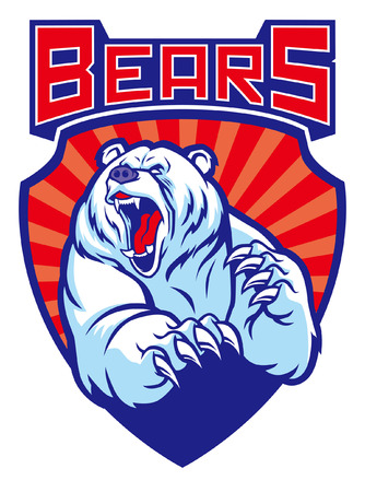 polar bear mascot in badge style
