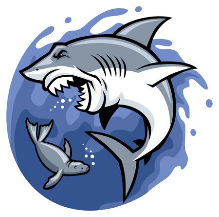 pelea de tiburones y focas Ilustración de vector