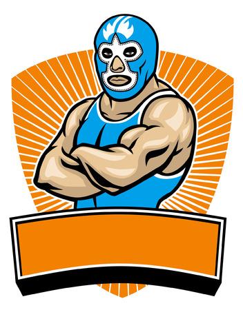 traditionelles mexikanisches Wrestler-Maskottchen Vektorgrafik