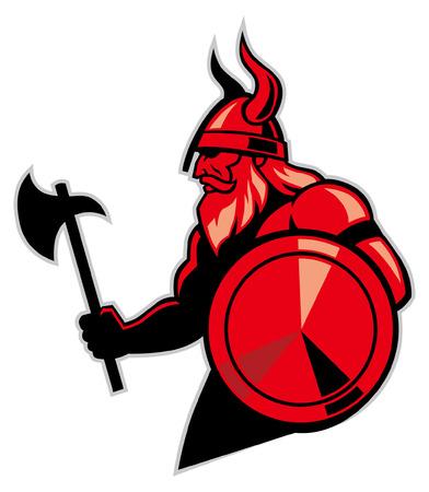 mascota vikinga Ilustración de vector