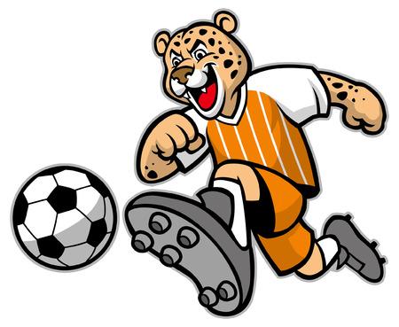 Maskottchen des glücklichen Leopardencharakters, der Fußball spielt Vektorgrafik
