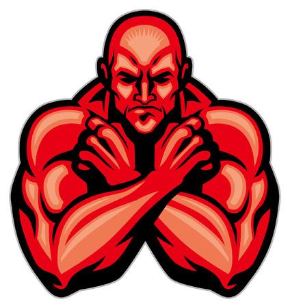 bodybuilder mascot Illustration
