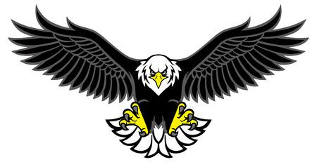Adler-Maskottchen, das die Flügel ausbreitet Vektorgrafik