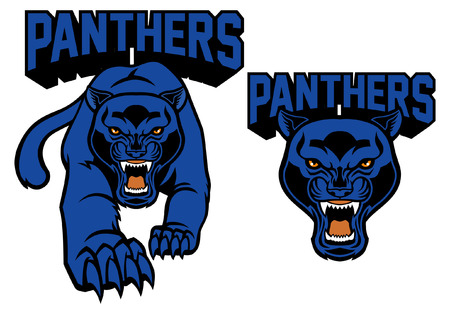 black panther mascot set Stock Illustratie