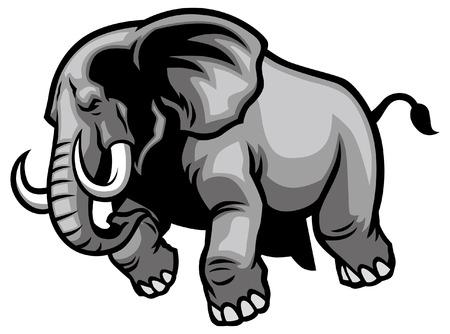 angry elephant mascot charging