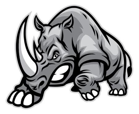 rhinocéros en colère prêt à percuter