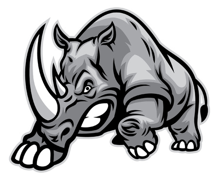 angry rhino ready to ram Illustration