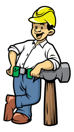 construction worker lean in a big hammer  イラスト・ベクター素材