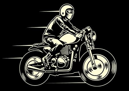 Man ride an classic custom motorcycle Standard-Bild - 115323715