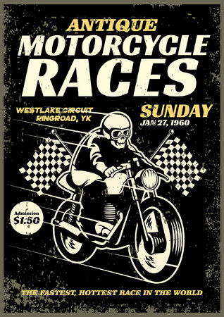 motorcycle race poster in grunge textured style