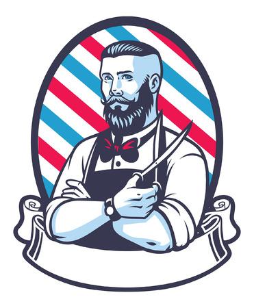 Retro illustratie van kapper man