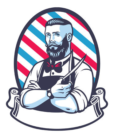 Retro illustration of barber man