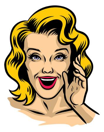 retro illustration of beautiful woman face