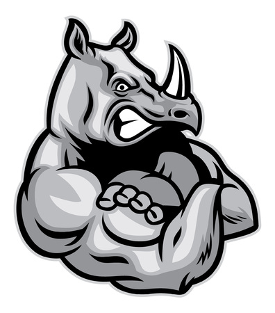 rhinocéros montre son gros muscle