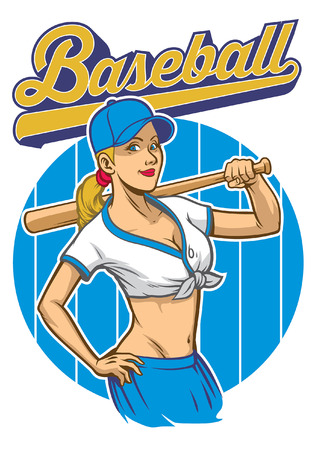 Sexy girl of baseball player pose Stock Illustratie