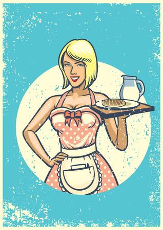 vintage sexy waitress presenting breakfast