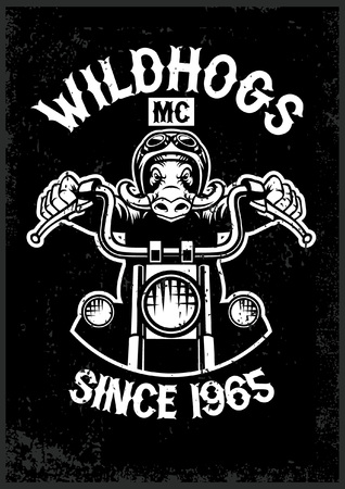 vintage wildhog motorcycle club mascot in grunge texture style Ilustrace