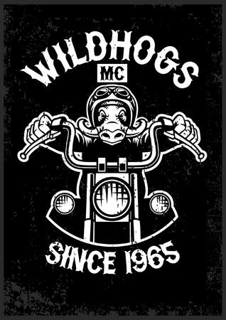 vintage wildhog motorcycle club mascot in grunge texture style Иллюстрация