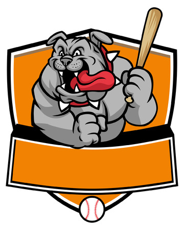 bulldog mascot of baseball 일러스트